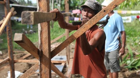 The International Federation of Red Cross and Red Crescent Societies (IFRC) is one of the few agencies committed to providing tools, materials and technical training to families repairing their homes.