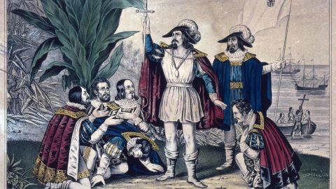 The explorer landed on the island of Guanahani in the Bahamas on October 12, 1492. Columbus and a crew of 90 people set sail about 10 weeks earlier aboard their ships: Nina, Pinta and Santa Maria.<br />