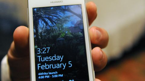 Huawei 4Afrika will run on Windows Phone 8 and will be pre-loaded with select  apps designed for the continent. (PIUS UTOMI EKPEI/AFP/Getty Images)