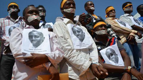 Somali journalists protest against the arrest of  Abdiaziz Abdinor Ibrahim, January, 27, 2013, Mogadishu.