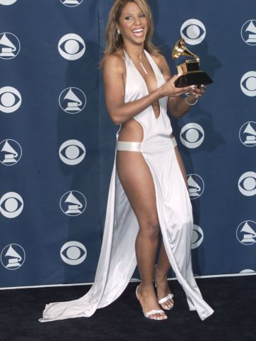 Toni Braxton left little to the imagination when she attended the 2001 Grammys wearing this barely there white dress.
