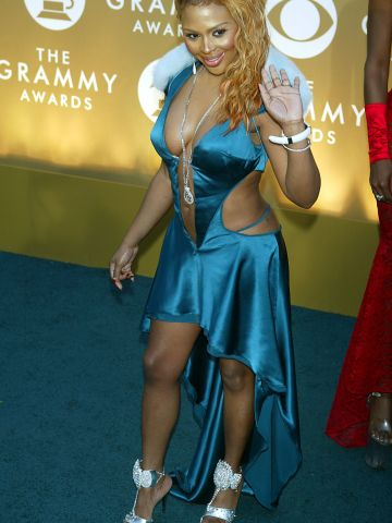 Lil' Kim showed skin in this short blue frock in 2004.