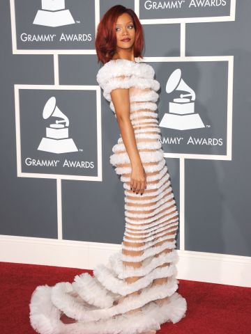 Rihanna took a fashion risk in 2011 with this Jean Paul Gaultier dress.