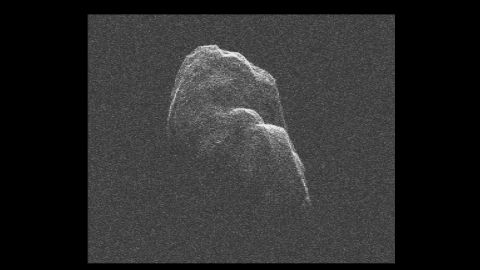 """The three-mile long (4.8-kilometer) asteroid Toutatis flew about 4.3 million miles (6.9 million kilometers) from Earth on December 12, 2012. NASA scientists used radar images to <a href=""""http://www.youtube.com/watch?v=fo38qU00HlQ"""" target=""""_blank"""" target=""""_blank"""">make a short movie</a>."""