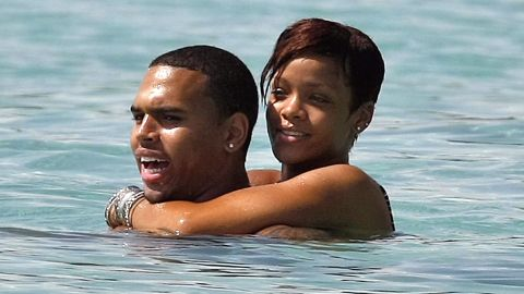 The couple spent time together on the beach in Barbados in August 2008.