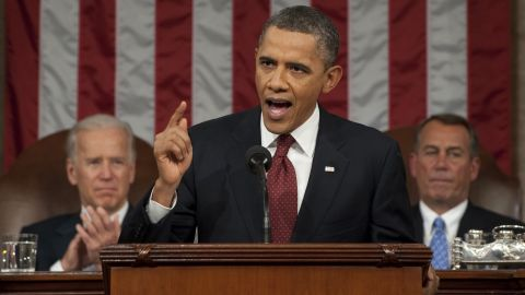 WASHINGTON, DC - JANUARY 24: U.S. President Barack Obama, flanked by Vice President Joe Biden (L) and House Speaker John Boehner (R-OH), delivers his State of the Union address before a joint session of Congress on Capitol Hill January 24, 2012 in Washington, DC. The president made a populist pitch to voters for economic fairness, saying the federal government should more do to balance the benefits of a capitalist society. (Photo by Saul Loeb-Pool/Getty Images)