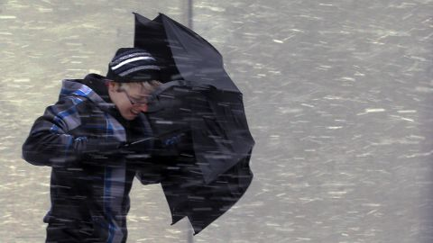 """This umbrella doesn't stand a chance in the wind-driven snow Friday in Boston as a potentially <a href=""""http://www.cnn.com/2013/02/08/us/northeast-blizzard/index.html"""">historic winter storm closes in on the Northeast</a>, especially New England."""