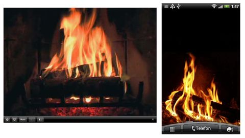 """Don't just stay safe and warm, stay cozy. These apps will turn your mobile devices into flickering fires. <a href=""""https://itunes.apple.com/us/app/fireplace/id290311006?mt=8"""" target=""""_blank"""" target=""""_blank"""">FirePlace</a> is a $.99 app for the iPhone or iPad, and the free <a href=""""https://play.google.com/store/apps/details?id=com.yukka.livewallpaper.fireplace&hl=en"""" target=""""_blank"""" target=""""_blank"""">Fireplace Live Wallpaper</a> works in the background on Android devices."""