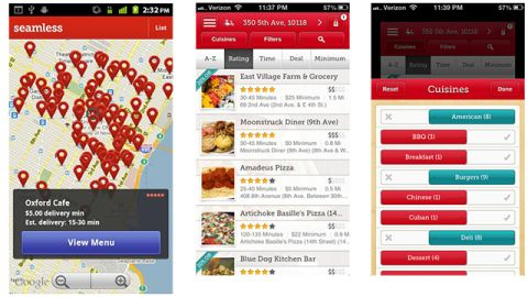 """If you didn't stock up on food, you can still order in. The free <a href=""""http://www.seamless.com/mobile-apps/"""" target=""""_blank"""" target=""""_blank"""">Seamless</a> app (iOS, Android, BlackBerry), is in many major cities and lets you place an order and pay right from the app. Browse local food options by type or on a map. If you do order during severe weather, don't forget to allow extra time and give a healthy tip."""