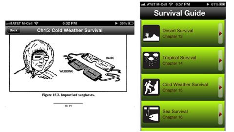 """Hopefully you won't need any of the tips in this free iOS app, which is based on a U.S. military survival guide. <a href=""""https://itunes.apple.com/us/app/survival-guide/id407204621?mt=8"""" target=""""_blank"""" target=""""_blank"""">Survival Guide </a>has an entire chapter on handling harsh winter weather, and tips starting a fire and catching your own food."""
