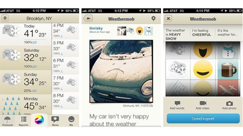 """For people who love weather Tweets and Facebook updates, the free <a href=""""http://weathermob.me"""" target=""""_blank"""" target=""""_blank"""">Weathermob</a> iOS app lets you file citizen weather reports from anywhere. Attach photos or videos and see what other people are reporting."""
