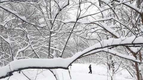 A man walks through snowy Central Park in New York.
