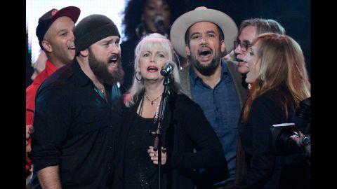 Tom Morello, Zac Brown, Emmylou Harris, Ben Harper, Jackson Browne and Patti Scialfa perform onstage.