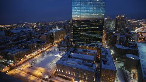 Snow blankets Copley Square on Saturday, February 9, in Boston.