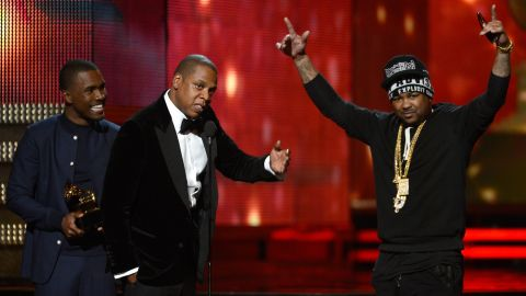 """The Grammy for best rap/sung collaboration was awarded to Kanye West (who wasn't present), Jay-Z, Frank Ocean and The Dream for """"No Church in the Wild."""""""
