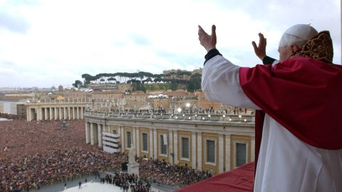 VATICAN CITY - APRIL 19:  Newly elected Pope Cardindal Joseph Ratzinger, Pope Benedetto XVI gestures to the crowd in St. Peter's square April 19, 2005 in Vatican City. The 265th Pope will lead the world's 1 billion Catholics.  (Photo by Arturo Mari-Pool/Getty Images)