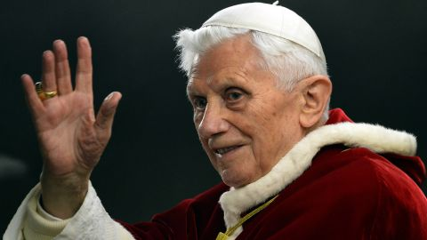 """Pope Benedict XVI waves in St. Peter's Square in the Vatican in December 2012. Benedict, 85,  announced on Monday, February 11, that he will resign at the end of February """"because of advanced age."""" The last pope to resign was Gregory XII in 1415."""