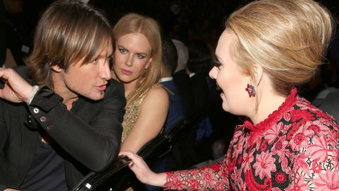 """Keith Urban to Adele: """"You're telling me you just blast your 'do with this hairpray on Mondays, and it stays put all week? See, that's what I need!""""<br />Nicole Kidman to herself: """"Please, God. No."""""""