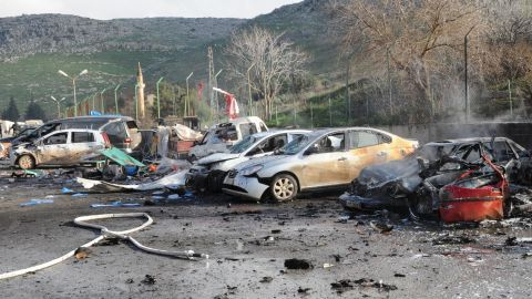 The remains of cars are pictured on February 11, 2013 at the Cilvegozu border crossing between Turkey and Syria on July 20, 2012 in Hatay, after nine people were killed and dozens wounded when a car exploded, damaging 15 humanitarian aid vehicles nearby.