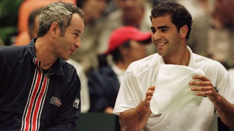 """""""My toughest opponent was a guy by the name of Pete Sampras."""" McEnroe's career briefly overlapped with that of the 14-time grand slam champion, but he lost all three of their matches. McEnroe was later his Davis Cup captain and they have renewed their rivalry on the legends circuit."""