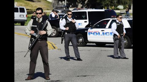 Authorities take positions during the manhunt for former LAPD officer Christopher Jordan Dorner near the town of Angelus Oaks, California, on Tuesday.