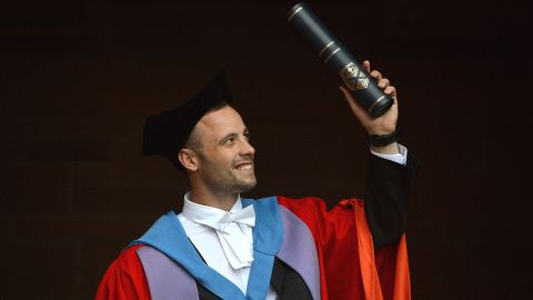 Pistorius receives his honorary doctorate from Strathclyde University in Glasgow, Scotland, in November 2012.