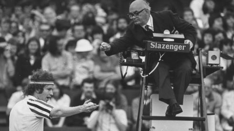 """""""I hear that about 10 times a day."""" McEnroe was notorious for arguing with umpires -- here haranguing an official during a semifinal win over Connors at Wimbledon. His famous catchphrase: """"You cannot be serious!"""""""