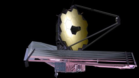 The James Webb Space Telescope, shown in this artist's depiction, would be even more powerful than the Hubble Space Telescope, and may enhance our understanding of enigmatic substances called dark matter and dark energy.