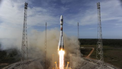 The Soyuz rocket in 2012 lifting off to place the second pair of Galileo satellites into orbit.
