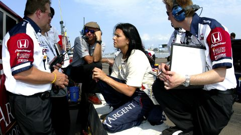Patrick speaks with her crew during practice for the Honda Grand Prix of St. Petersburg in 2005 on the streets of St. Petersburg, Florida.