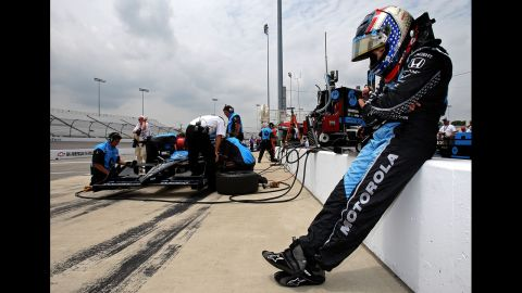 Patrick waits to get in her car during practice for the SunTrust Indy Challenge in 2007 in Richmond, Virginia.