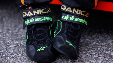 A detail shot of Patrick's shoes on the grid before the New England 200 in 2010 in Loudon, New Hampshire.