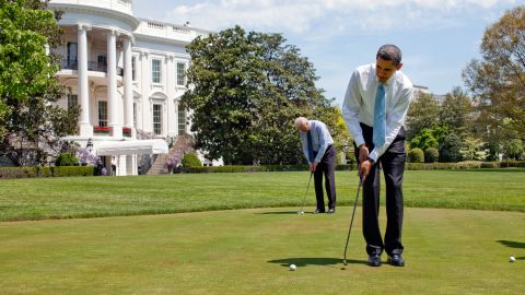 Sixteen of the last 19 presidents have played golf. Here, President Barack Obama and Vice President Joe Biden putt on the White House putting green in 2009.