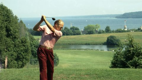President Gerald Ford plays golf during a working vacation on Mackinac Island in Michigan on July 13, 1975.