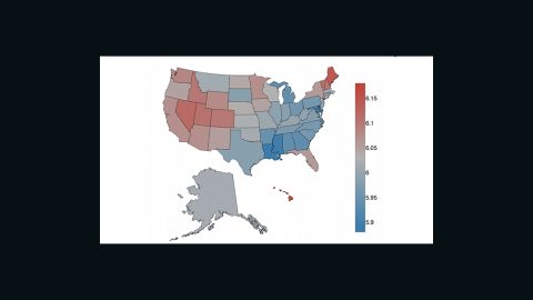 States in red have the highest average amount of happy tweets. States in blue states have more sad tweets.
