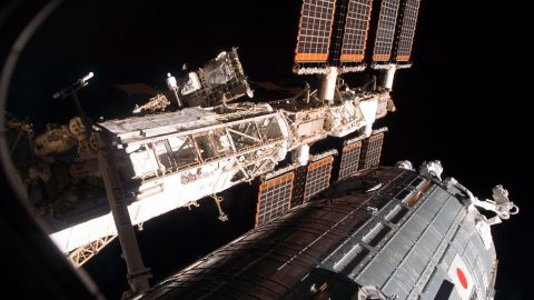The space shuttle Discovery leaves the space station in March 2008 after its crew successfully delivered and installed the Japanese-built Kibo lab.