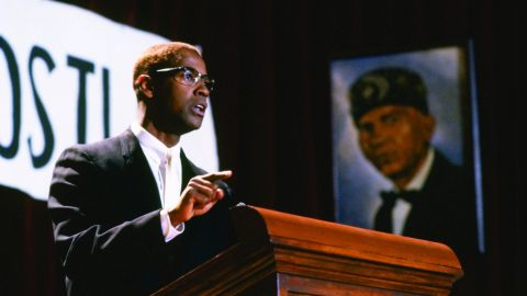 """Denzel Washington starred as the iconic civil rights leader in the 1992 film """"Malcolm X,"""" which studied the troubled racial history of America."""
