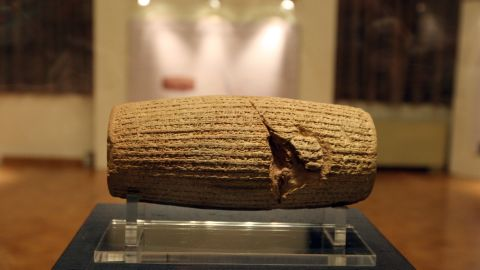 The Cyrus Cylinder is put on display at the National Museum of Iran in Tehran on September 12, 2010.