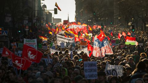 Demonstrators protest on February 23, in Madrid.
