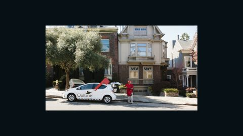 Here Francis loads up on mail in one of San Francisco's posher neighborhoods.