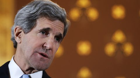 US Secretary of State John Kerry at the Foreign and Commonwealth Office in London on February 25, 2013.