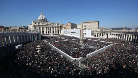 The faithful fill St Peter's Square as Pope Benedict XVI attends his last public audience on February 27, 2013 in Vatican City, Vatican.