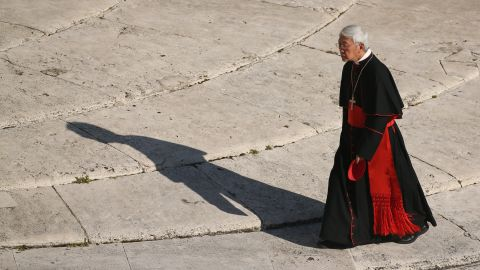 A cardinal arrives in St. Peter's Square. Benedict will leave office at 8 p.m. local time Thursday.