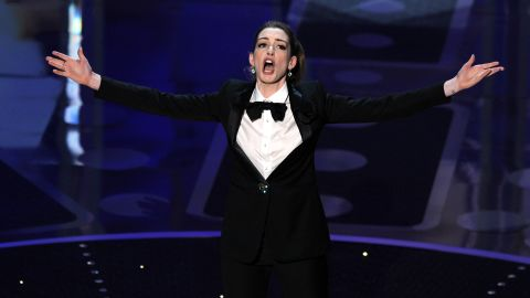 Hathaway performs at the Oscars in February  2011.