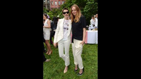 Hathaway and fashion designer Stella McCartney at the Stella McCartney Resort 2013 presentation in June 2012 in New York.