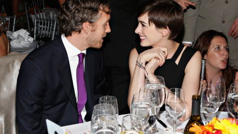 Hathaway with her husband, Adam Shulman, at the Women's Media Awards in November 2012 in New York.