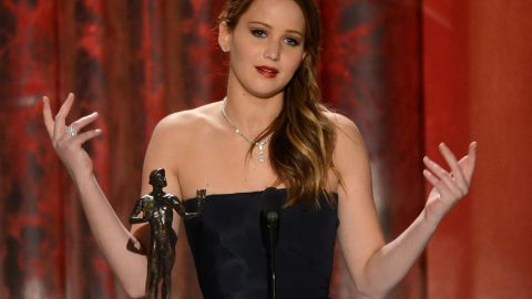 """Lawrence always seems to keep it genuine and fun with her acceptance speeches. Seen here receiving the award for outstanding performance by a female actor in a leading role for """"Silver Linings Playbook"""" at the 2013 Screen Actors Guild Awards, <a href=""""http://www.youtube.com/watch?v=c4-m95OXG-I"""" target=""""_blank"""" target=""""_blank"""">she thanked SAG for the naked statue and called Harvey Weinstein a rascal.</a>"""