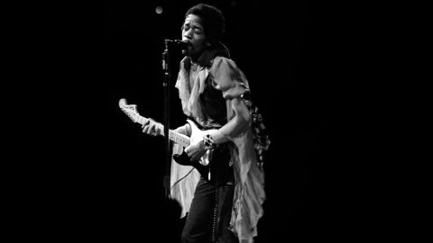"""<strong>Hendrix performs at Madison Square Garden in 1969:</strong><br />""""I was always mesmerized by the transformation of Jimi's persona from the shy, soft-spoken individual into the towering monster guitarist that appeared on stage demolishing everything in his path with waves of intense sound. I rarely attended Jimi's shows as just a fan and not being in a mobile truck recording him,so it was such a moment of visceral pleasure to capture these images from the side and front of the stage."""" --<em> Eddie Kramer</em>"""