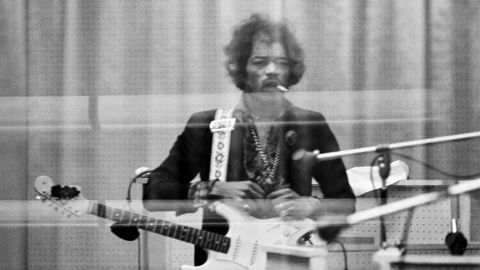 """<strong>Hendrix records at the Record Plant in New York in 1968:</strong><br />""""Jimi was very self-demanding and a perfectionist. So when he heard back this particular solo, he was understandably pissed off at the result. His expression reminds me of a gunslinger about to knock off his next opponent ... except that it would be Take 29 of the overdub solo!"""" --<em> Eddie Kramer </em>"""