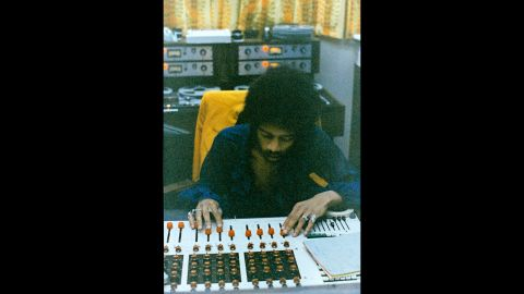 """<strong>Hendrix works at the mixing board at the Record Plant in New York in 1968:</strong><br />""""Jimi was totally into the technology of the day as demonstrated by his ability at the board. We often mixed together as a team, mostly ending in very creative collaborations or falling over laughing at the mess we had made of the sound. In fact '1983 (A Merman I Should Turn to Be)' was mixed as one complete take with two or three rehearsals beforehand."""" --<em> Eddie Kramer</em><br />"""